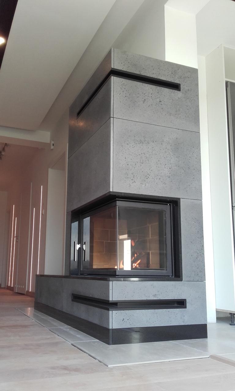 kominek z szybą boczną z betonu architektonicznego Żory