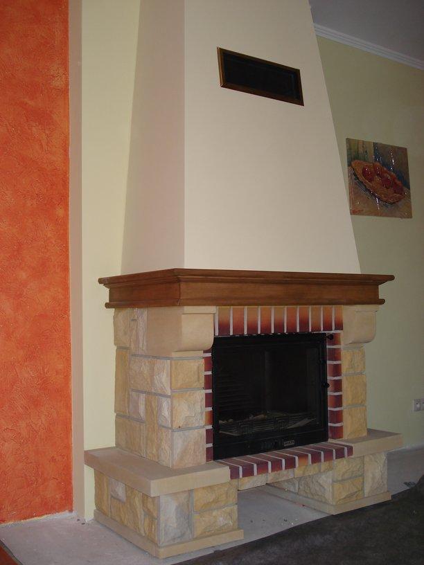 kominek klasyczny z piaskowca Jastrzębie